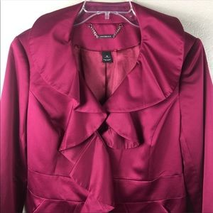 White House Black Market Fuchsia Trench Coat Med